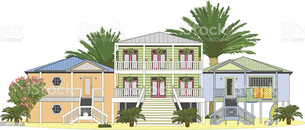 Beach Houses vector art illustration
