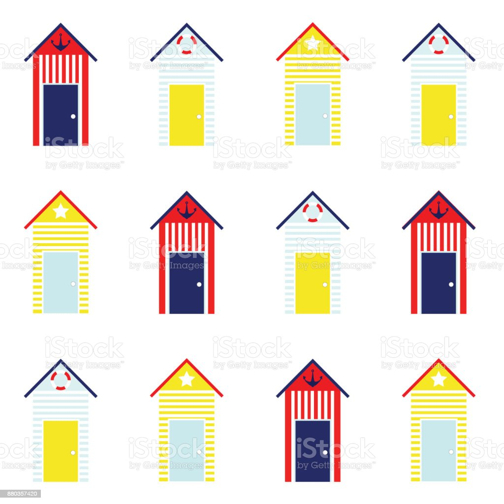 Beach Hut Seamless Pattern vector art illustration