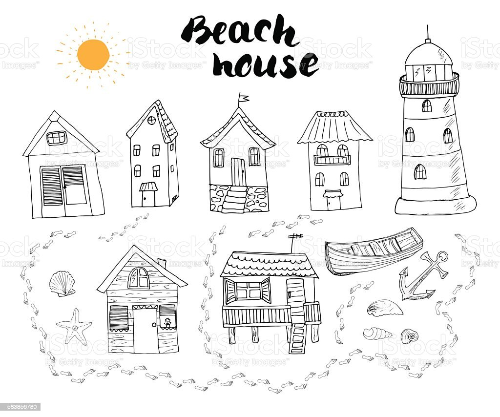 Beach huts, bungalows, hand drawn color doodle set, vector illustation vector art illustration