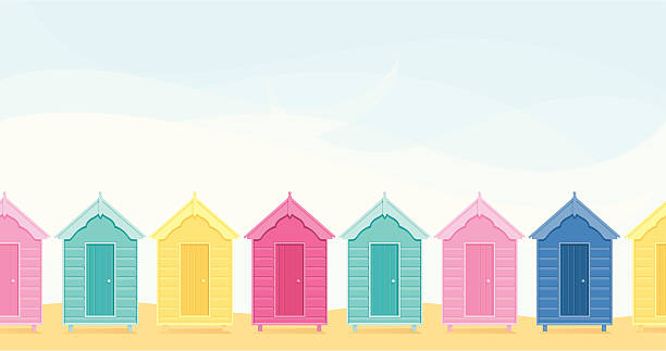 Beach Huts - incl. jpeg vector art illustration