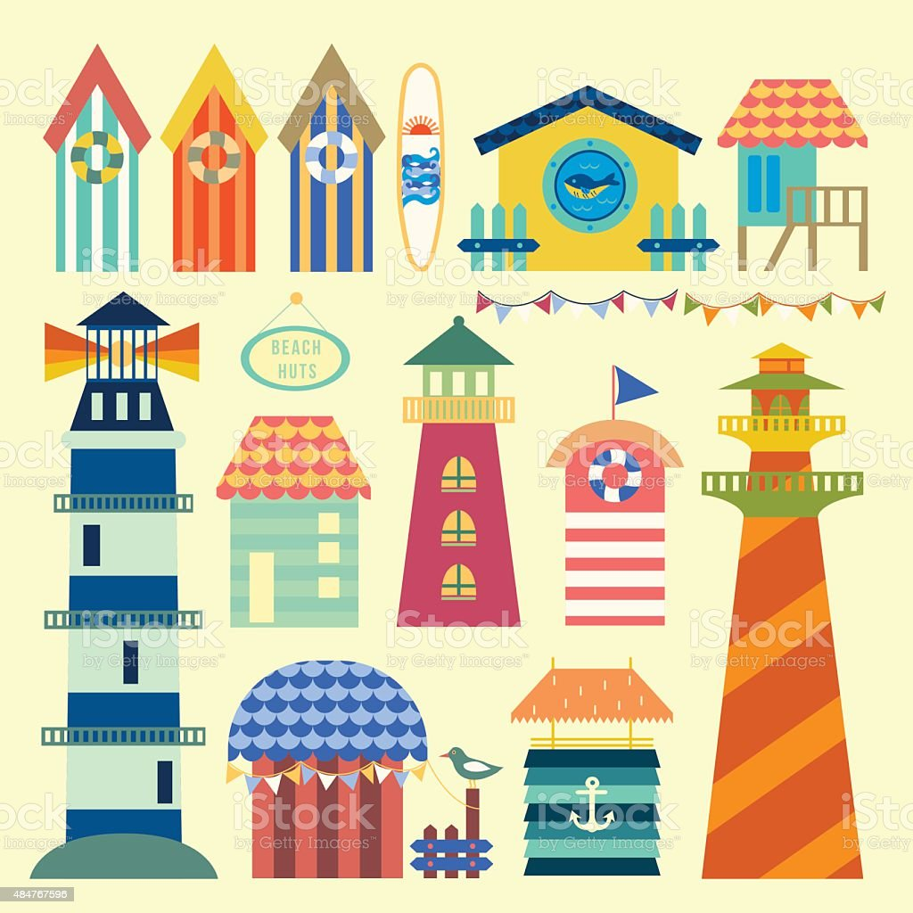 Beach huts ornaments vector art illustration
