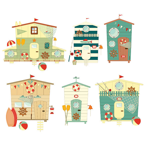 Beach Huts vector art illustration
