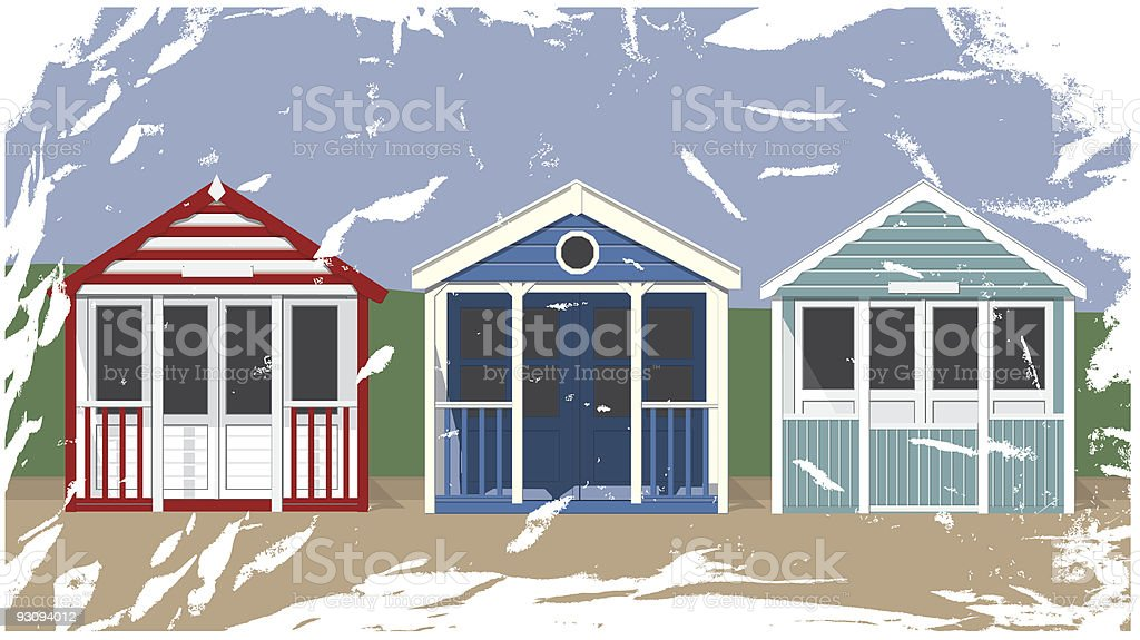 Beach Huts with aged, grunge effect royalty-free stock vector art