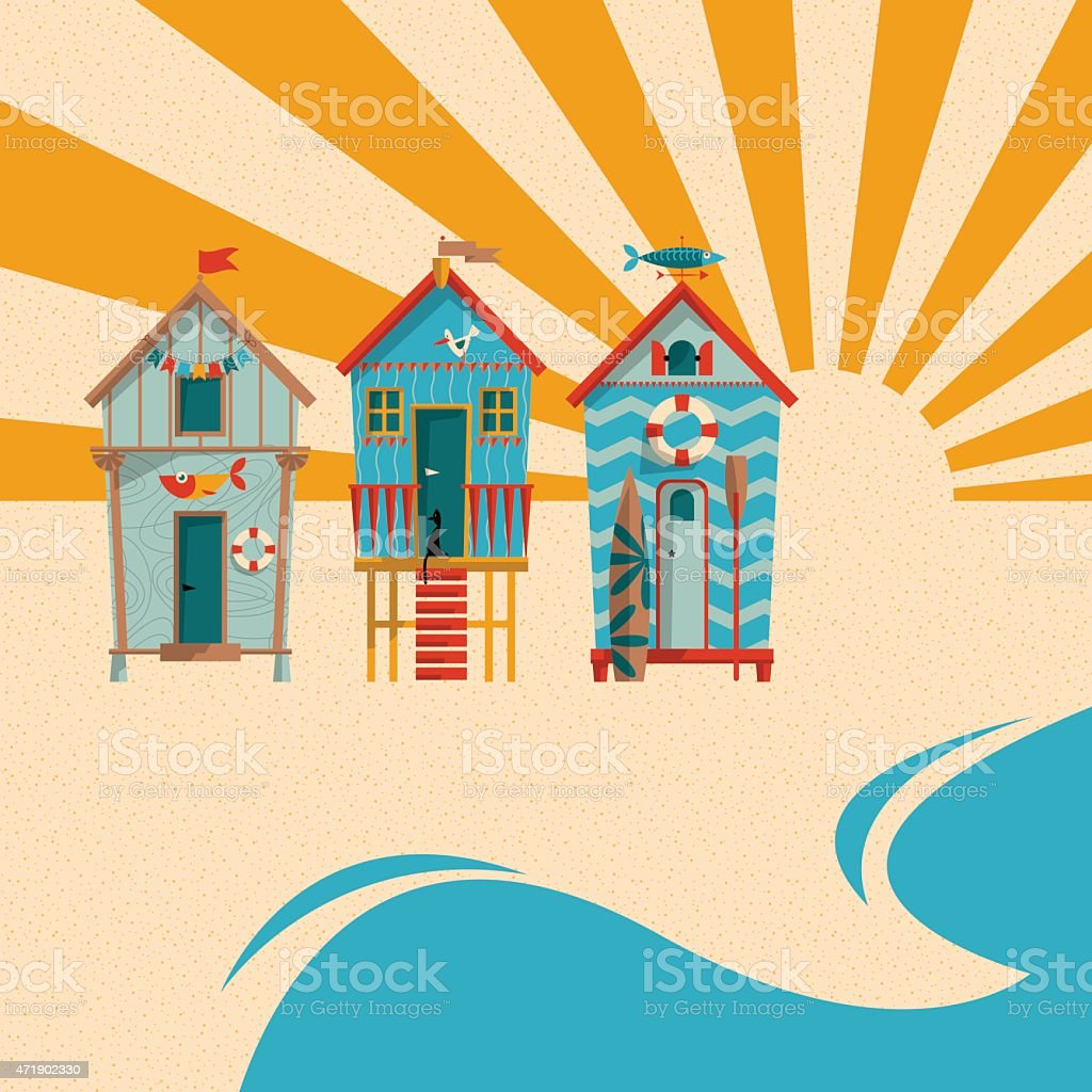 Beach huts with sand, sea and sun in the background. vector art illustration