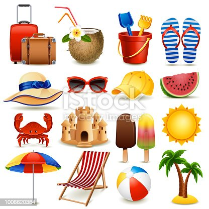 Vector illustration - summer beach icon set on white background, eps10.