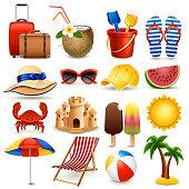 Vector illustration - summer beach icon set on white background, eps10.
