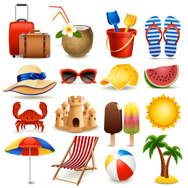 Beach icon set Vector illustration - summer beach icon set on white background, eps10. seyahat noktaları illustrationsları stock illustrations