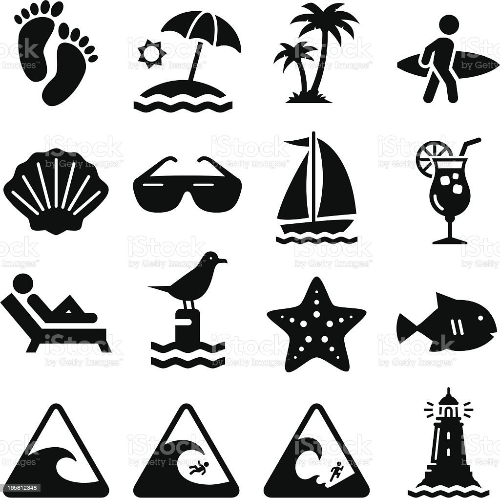 Beach Icons - Black Series vector art illustration