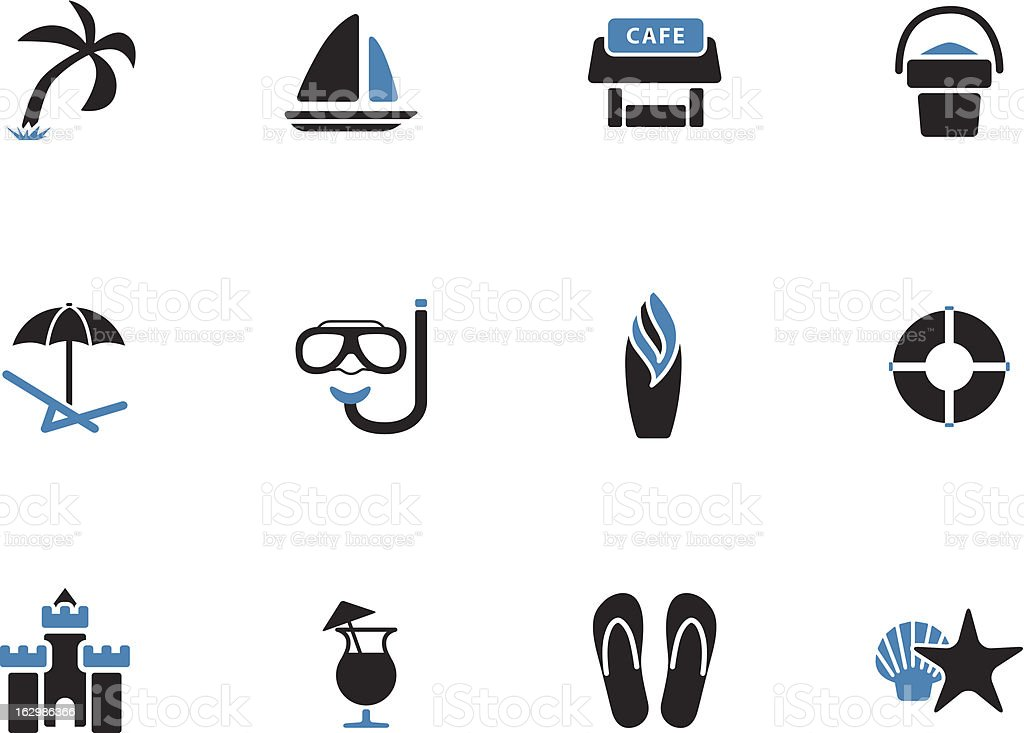 Beach icons | Duo Tone Style royalty-free stock vector art