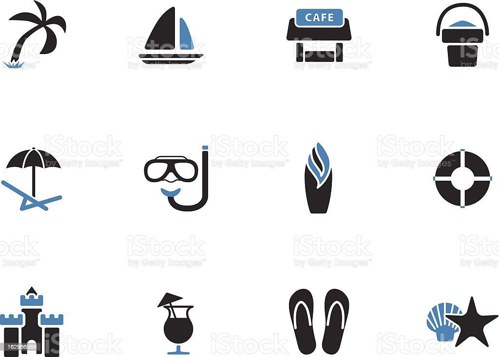 Beach icons | Duo Tone Style vector art illustration