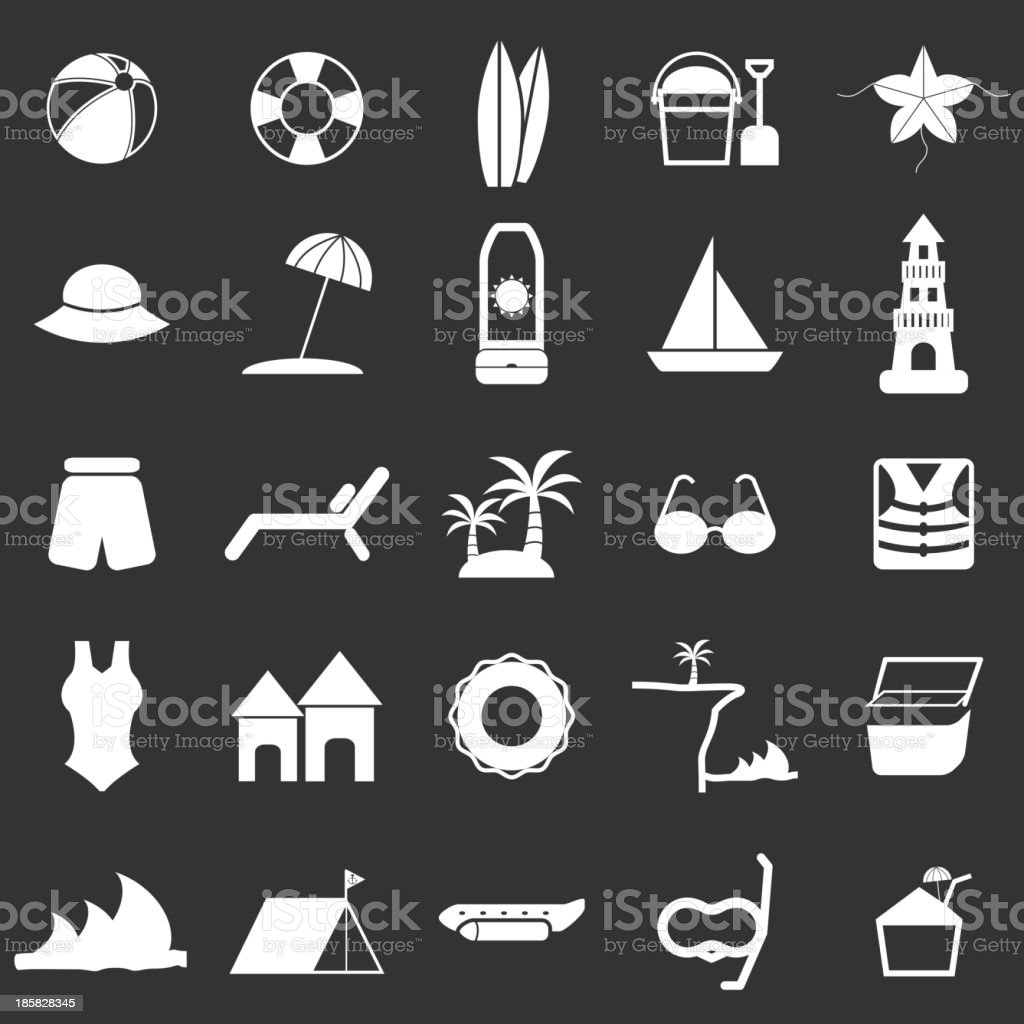 Beach icons on black background vector art illustration