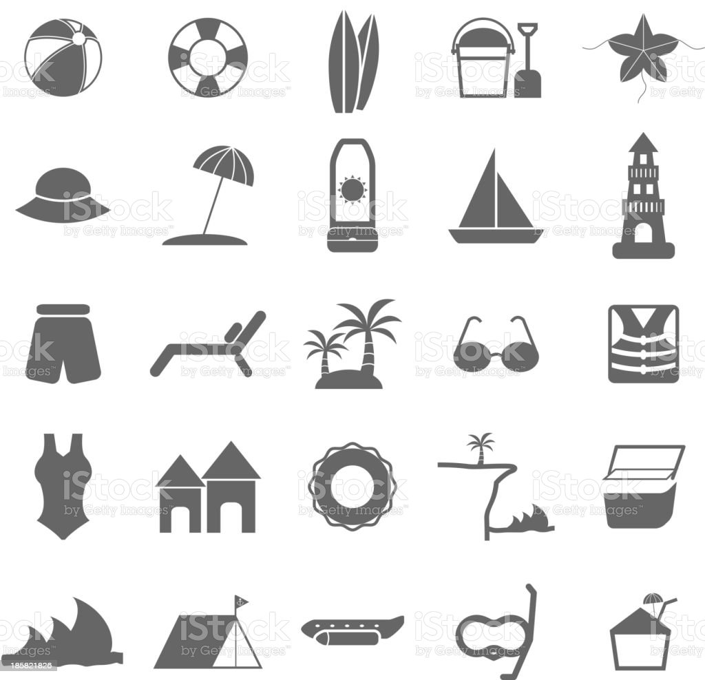 Beach icons on white background vector art illustration