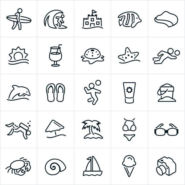 illustrations, cliparts, dessins animés et icônes de icônes de plage - chateau de sable