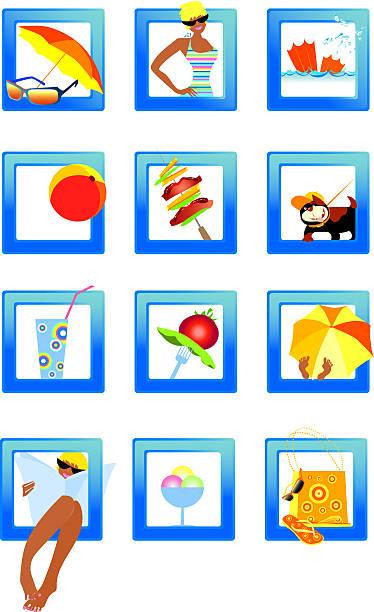 ilustrações de stock, clip art, desenhos animados e ícones de ícones de praia - nails ice cream