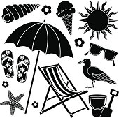 Vector icons with a day at the beach theme.