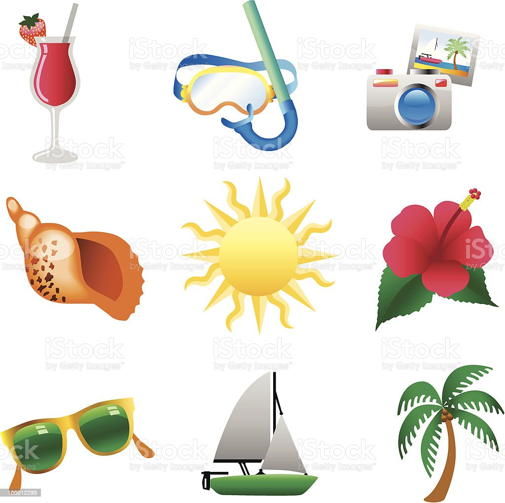 beach icons royalty-free stock vector art