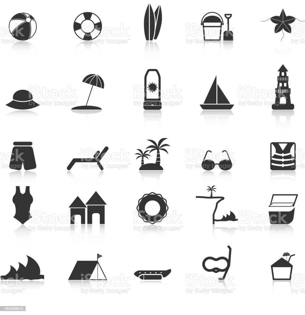 Beach icons with reflect on white background vector art illustration