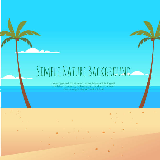 beach illustration and palm trees on the background of the sea - holiday background stock illustrations