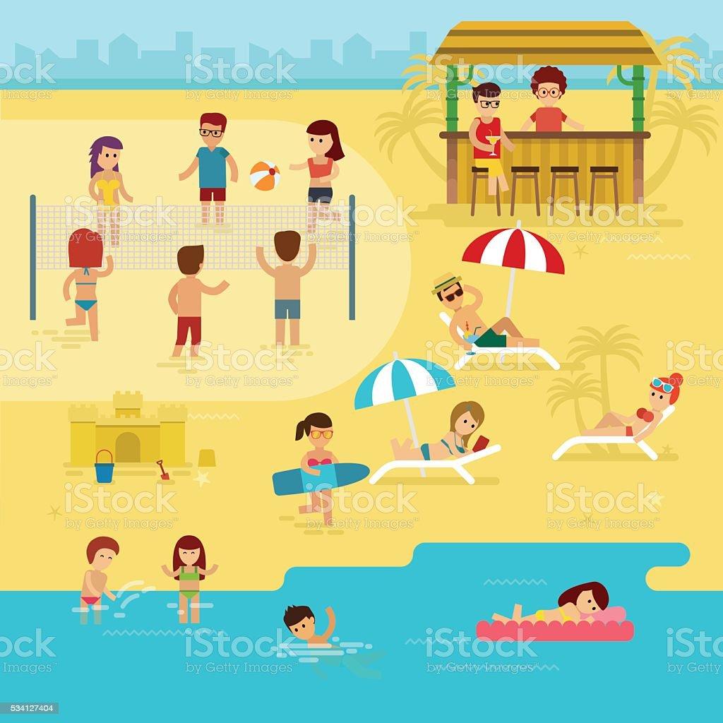 Beach infographic elements vector art illustration