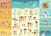 Beach Infographic set with charts and other elements.