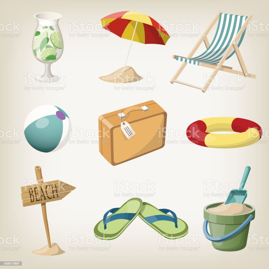 Beach items set. Travel, vacation items. Vector illustrations vector art illustration