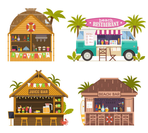 Beach Juice Bars and Restaurants Collection vector art illustration