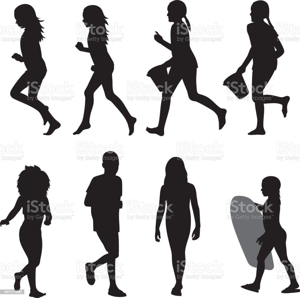 Beach Kids Silhouettes 2 vector art illustration