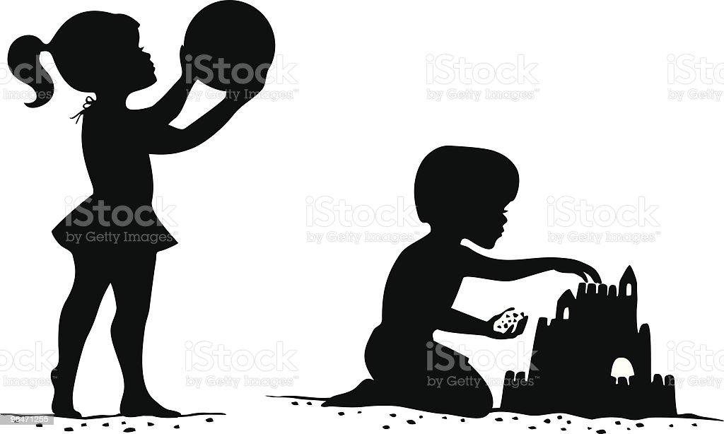 beach kids silhouettes stock vector art   more images of Fancy Bracket Shapes Clip Art Girls Night Clip Art