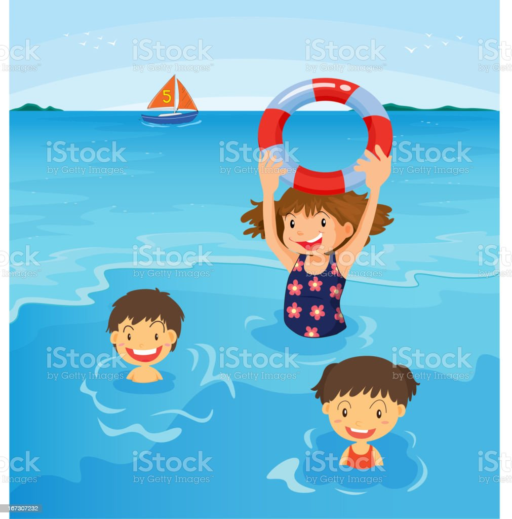 Beach kids vector art illustration