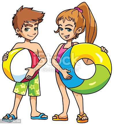 Full length illustration of two cute and happy children, boy and girl, smiling while wearing swimsuits and flip-flops, and holding beach ball and swim ring on white background.
