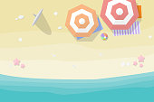 top view beach background with umbrellas, balls, surfboard, starfish and sea. vector illustration