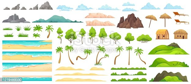 Beach landscape constructor. Sandy beaches, tropical palms, mountains and hills. Ocean horizon, clouds and green trees cartoon vector illustration set. Nature beach landscape constructor