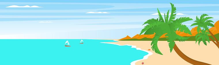 beach landscape sea palm trees. Vector illustration.