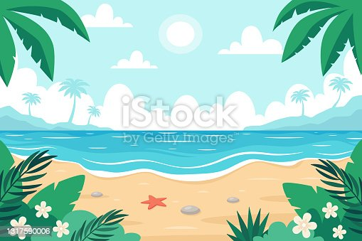 istock Beach landscape. Seashore with starfish, palms and tropical plants. Vector illustration 1317590006