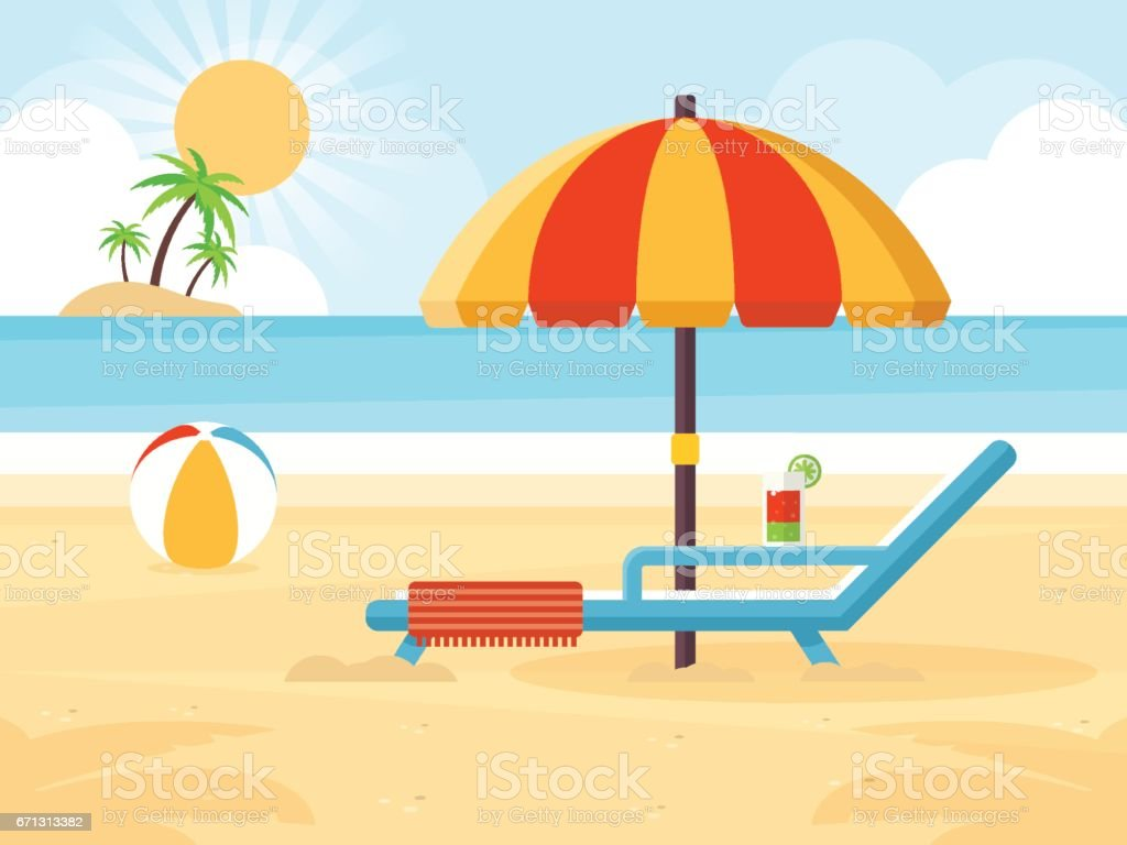 Beach Landscape vector art illustration