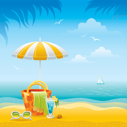 Beach landscape with umbrella, bag, sunglasses and cocktail