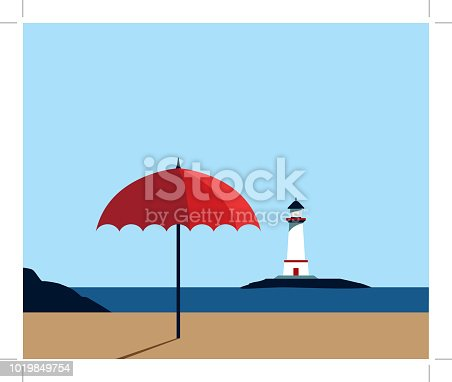 Beach landscape with umbrella