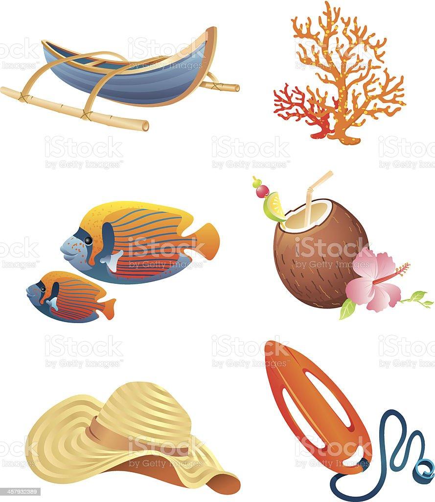 Beach Life Icons vector art illustration