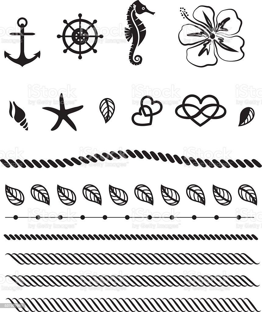 Beach Life Tattoo, Vektor, Anker, Ruder – Vektorgrafik