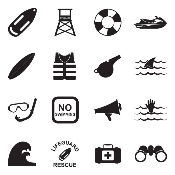 Beach Lifeguard Icons. Black Flat Design. Vector Illustration. Aid, Baywatch, Rescue, Safe lifeguard stock illustrations