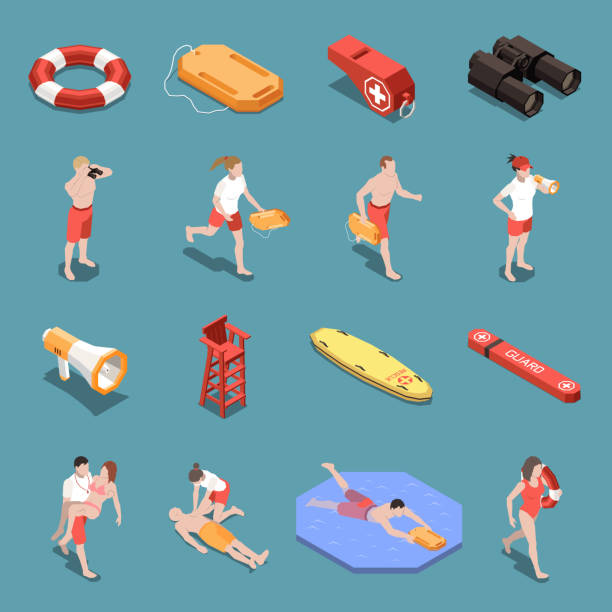 Beach Lifeguards Isometric Set Isometric icons set with male and female beach lifeguards and their inventory 3d isolated vector illustration lifeguard stock illustrations
