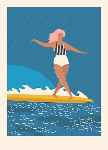 Beach lifestyle poster retro style.