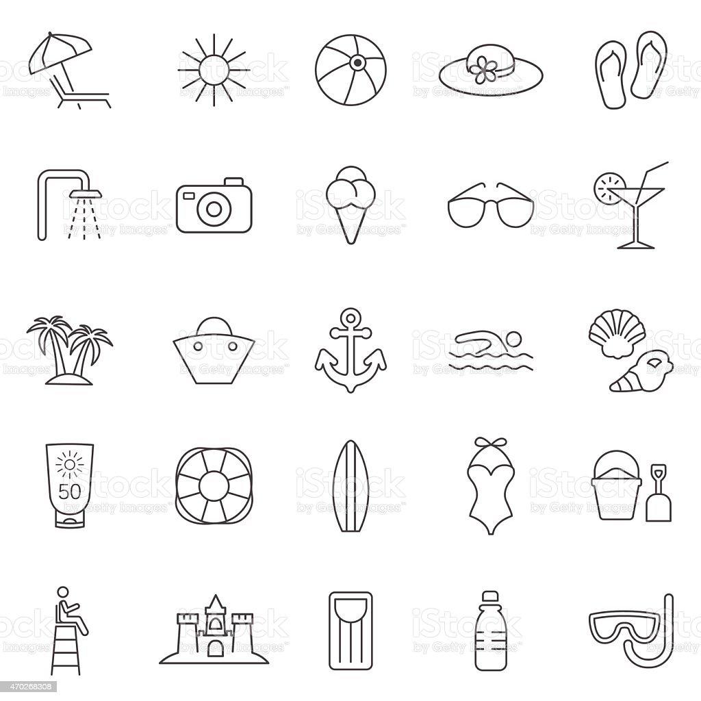 Beach line icons set.Vector vector art illustration