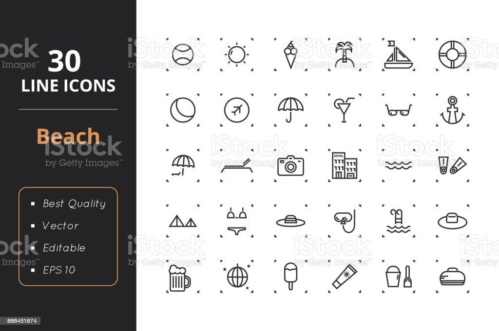 30 Beach Line Icons – Vektorgrafik