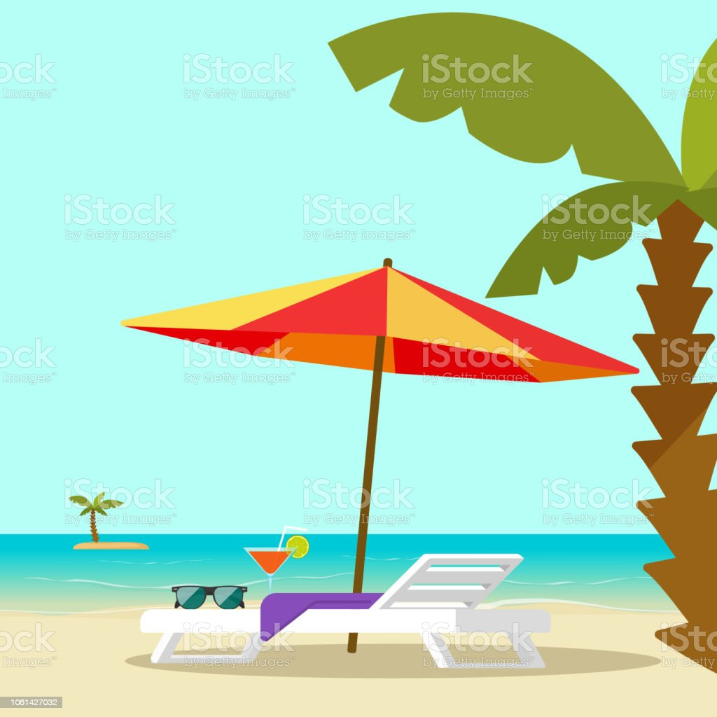 Pleasing Beach Lounge Chair Near Sea And Sun Umbrella And Palm Vector Squirreltailoven Fun Painted Chair Ideas Images Squirreltailovenorg