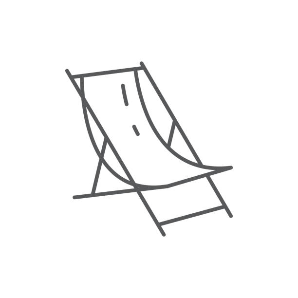 Beach lounge for summertime vacation theme - editable icon isolated on white background. Beach lounge for summertime vacation theme - editable icon isolated on white background. Outline vector illustration of chair for tanning pixel perfect element. outdoor chair stock illustrations