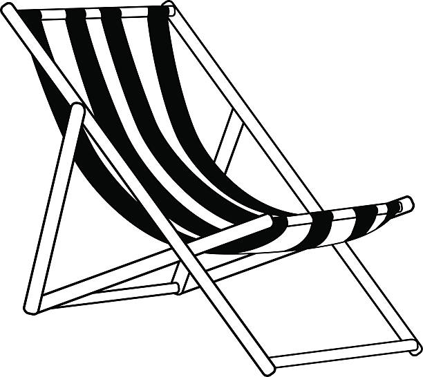 beach lounger graphic monochrome striped beach lounger isolated on white outdoor chair stock illustrations