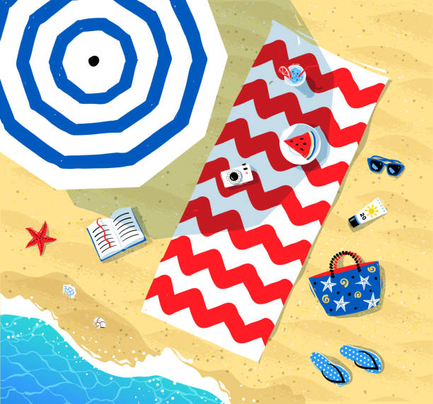 Beach mat and parasol near sea surf vector art illustration