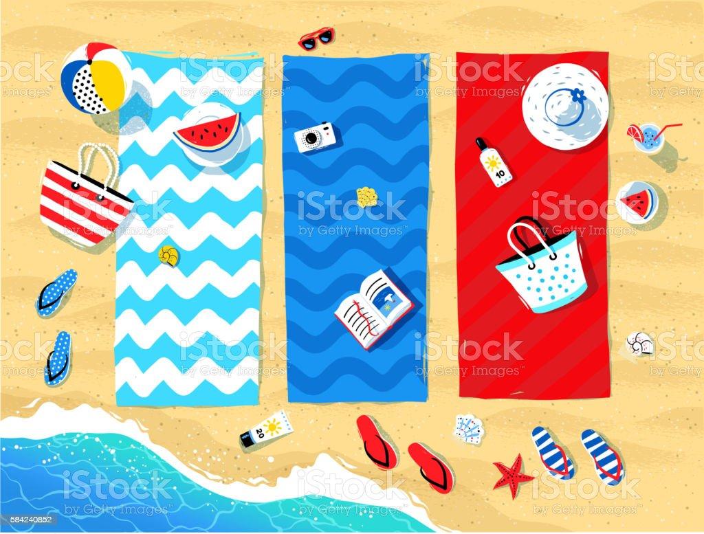 Beach mats and seaside accessories vector art illustration