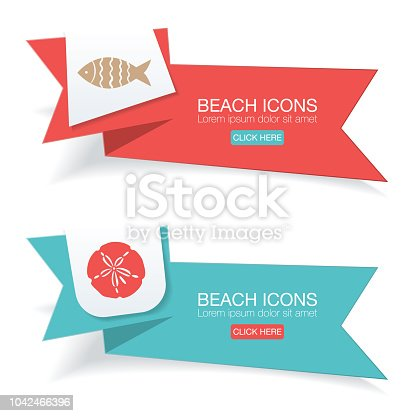 Beach Nautical Icons On Bright Colored Banners